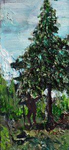 """ötzi am fuß der alpen"", 2015, acryl und öl auf holz, 12cm x 26cm"