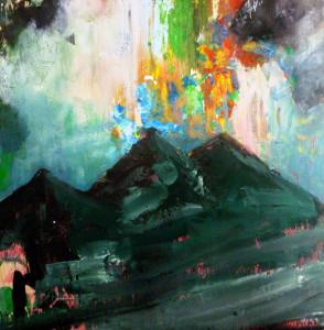 'aufbruch', 2014, akryl auf holz, 50cm x 50cm