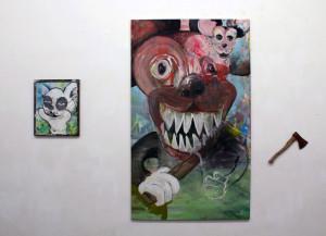 """ausstellungsansicht """"salon pink"""", gaswerk, weimar, 2014"""