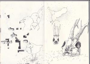 ohne titel, 2011, gelstift auf papier, 21cm x 29,6cm