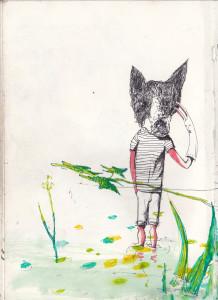 """""""spaß im sumpf"""", 2012, gelstift, fineliner und aquarell auf papier, 21cm x 14,8cm"""