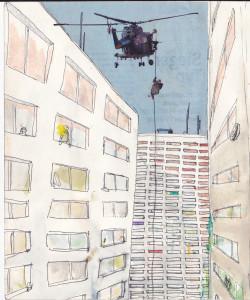 """""""in der nachbarschaft"""", 2012, mixed media auf papier, 21cm x 16cm"""