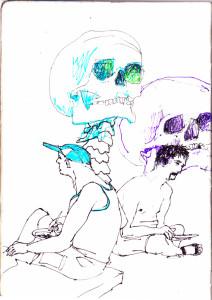 ohne titel, 2012, gelstift und fineliner auf papier, 21cm x 14,8cm