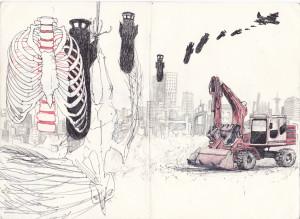 ohne titel, 2011, gel- u. buntstift auf papier, 21cm x 29,6cm