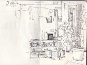 """""""mein zimmer, gerberstraße 3"""", 2011, gelstift auf papier, 21cm x 29,6cm"""