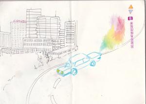 ohne titel, 2013, gel- u. buntstift auf papier, 21cm x 29,6cm