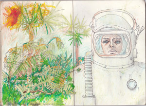 """""""exoplanet"""", 2013, gel- u. buntstift auf papier, 21cm x 29,6cm"""