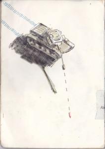 """""""deutschland ist wieder da (I)"""", 2013, gelstift, fineliner und aquarell auf papier, 21cm x 14,8cm"""