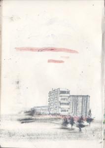 """""""sozialistischer wohnungsbau"""", 2012, fineliner und acryl auf papier, 21cm x 14,8cm"""