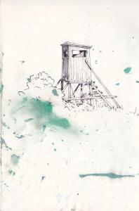 """""""jägerstand"""", 2013, gelstift und acryl auf papier, 21cm x 14,8cm"""
