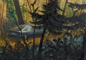 ohne titel ('auto im wald'), 2015, öl auf leinwand, 70cm x 100cm