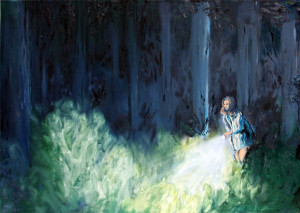 """""""nachts im wald"""", 2016, öl auf leinwand, 50cm x 70cm"""