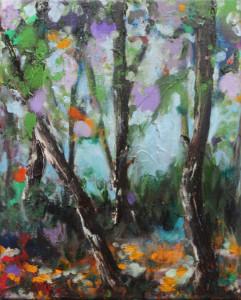 'sonniger laubwald', 2014, öl auf leinwand